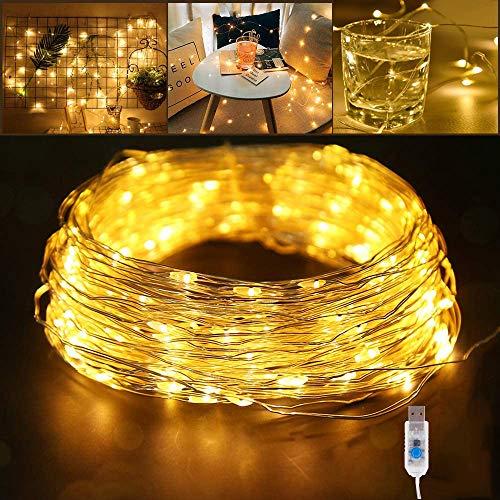 Led Lichterkette, SHINEFUTURE 10m 100 LED Lichterkette 8 Modi USB Lichterkette für Weihnachten Partydekoration Geburstag Hochzeit Wohnzimmer Kinderzimmer (Feenlicht)