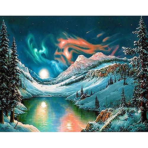 5D DIY diamante paisaje Aurora diamante bordado conjunto diamante mosaico imagen pintura artesanía mosaico pintura A3 40x50cm