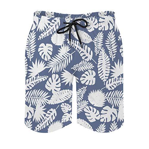 Ktewqmp Zomerzwembroek Tropische palmbladbladeren mannen zwembroek zwembroek zwemshorts heren met zakken Hawaiiaans