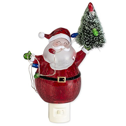 Red Santa Claus and Tree 6.5 inch Acrylic Decorative Holiday Plug-in Night-light