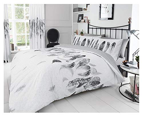 Gaveno Cavailia Premium Super Soft Feathers Duvet Cover, Poly-Cotton Easy Care Quilt Set with Matching Pillowcases, White, Kingsize Bedding, 50% Polyester & 50, King