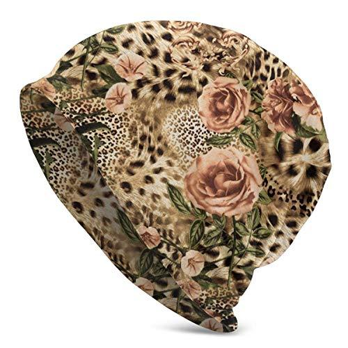 Mathillda stoffen gestreepte luipaarden- en bloemenmuts mannen winter warm lekker zacht dagelijks wintermuts