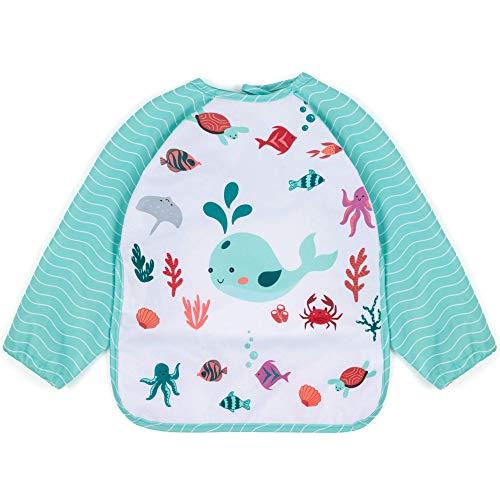 HOMYBABY Baberos bebe impermeables de PUL laminado suave, transpirable y resistente | Babero con mangas baby led weaning | Babero BLW ajustable | Bata babi escolar infantil impermeable