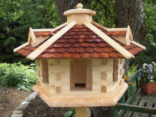 Vogelhaus Vogelhäuser-(V33)-Vogelfutterhaus Vogelhäuschen-aus Holz- Schreinerarbeit-Gaube Braun sehr Groß-