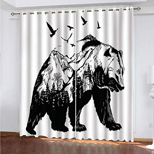 YUNSW Animal 3D Digital Printing Polyester Fiber Curtains, Garden Living Room Kitchen Bedroom Blackout Curtains, Perforated Curtains 2 Piece Set