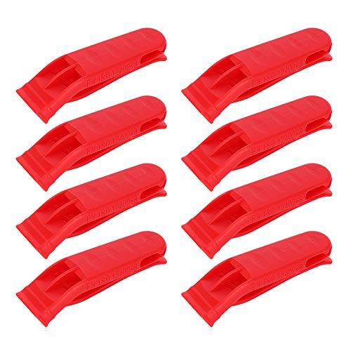 GAESHOW 8PCS Plástico Rojo Brillante Ligero Chaleco Salvavidas Doble frecuencia Supervivencia al Aire Libre Rescate Emergencia Larga Distancia Silbato de Emergencia de Tono Alto