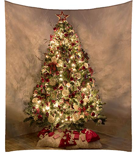 """All Smiles Christmas Themed Tapestry Shiny Xmas Green Tree Decorative Wall Hanging Home Decor Gold Brown Decoration Gifts for New Year Holiday, Living Room Bedroom 59""""x51"""""""