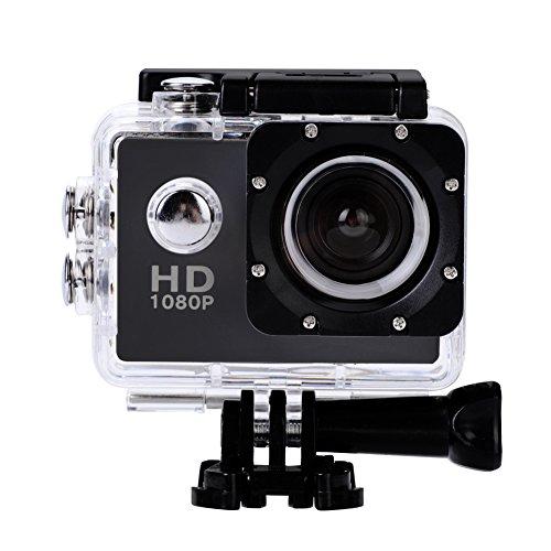 Garsent Actioncam Full HD waterdichte sportactie DV 1080p 12MP DV-camcorder onderwatercamera met montageaccessoires Kits voor buitenactiviteiten (zwart)