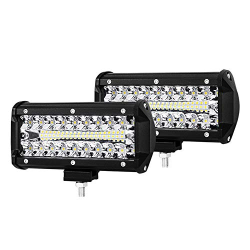 7 Inch LED Pods Spot Flood Combo Beam Liteway 24000 LM Triple Row Light Bar Off Road Driving Led Work Lights for UTV ATV Jeep Truck Boat Waterproof 2 Pack LED Light Bars