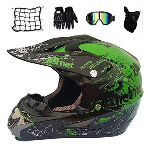 MRDEAR Full Face Mountain Bike Helmet with Helmet Net Goggles Gloves Mask, Adult Motocross Enduro Helmet MTB Crash Helmet for Quad Bike Off Road Motorbike Protective Gear Set Men Women Youth,L