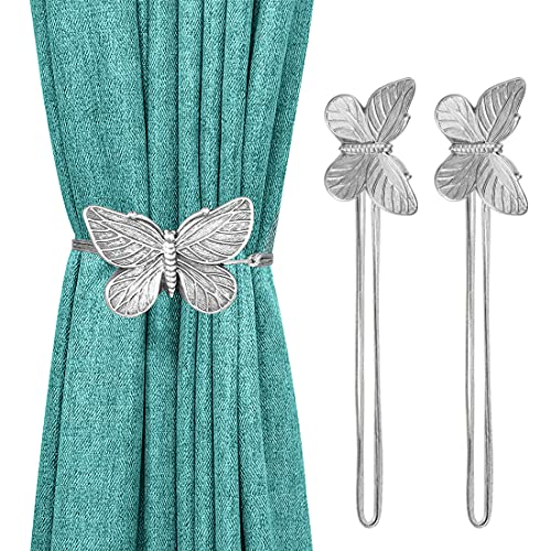 Lewondr Vintage Butterfly Magnetic Curtain Tieback, 1 Pair Resin Flower Curtain Drapery Holdback Retro Window Curtain Decorative Buckle Holder for Home Office Cafe Balcony, Silver