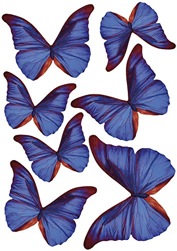 Plage Charming Butterfly Stickers 3D Decoration-Indigo Blue TRANSPARENT [7 Butterflies Between 8 x 6,5 cm and 14 x 11 cm], Plastik, 14 x 0.1 x 11 cm, 7-Einheiten