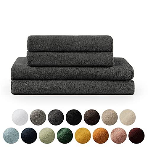 Blumtal Handtücher Set 2 Badetücher 70x140 + 2 Handtücher 50x100 - weich und saugstark, 100% Baumwolle, Oeko-Tex 100 Zertifiziert, Anthracite