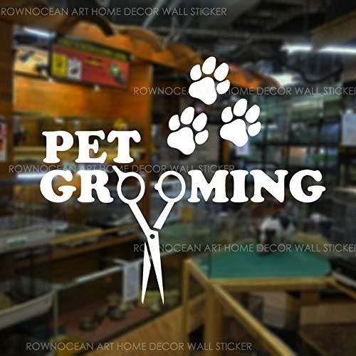 JXMN Pet Grooming Salon Fenster Aufkleber Vinyl Home Decoration Schere Aufkleber Pet Shop Logo Logo Wandbild abnehmbar 42x36cm