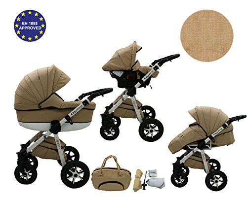QUERO Lin Matériau - Landau pour bébé + Siège Auto - Poussette - Système 3en1 + Accessoires (Système 3en1, Lin Matériau N ° 5)