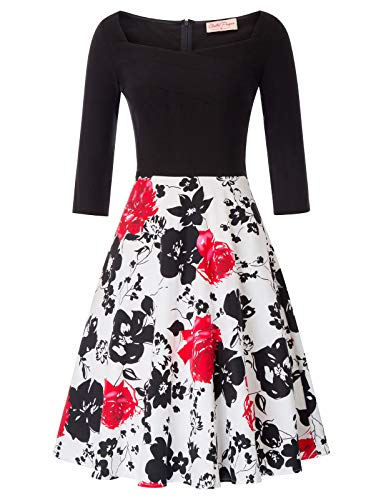 Belle Poque damesbloemenjurk 3/4-mouw winter rockabilly jurk petticoat jurk BP747