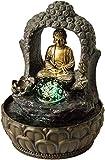 Nativ Fuente de interior con iluminación LED, figura de Buda, fuente de interior de polirresina con bomba e iluminación (Dhyana con bola)
