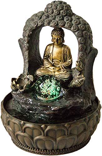 Nativ Zimmerbrunnen mit LED-Beleuchtung, Buddha Figur, Indoor-Brunnen aus Polyresin mit Pumpe und Beleuchtung (Dhyana mit Kugel)