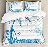 Ambesonne Surf Duvet Cover Set, Contemporary Sketch Illustration Hawaiian Beach with Surfboard Palms and Ocean Water, Decorative 3 Piece Bedding Set with 2 Pillow Shams, Queen Size, Blue and White