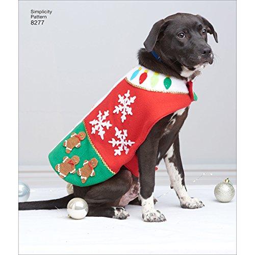 Simplicity 8277 Schnittmuster für Hundemantel, Fleece, weihnachtliches Design, Größen S-L