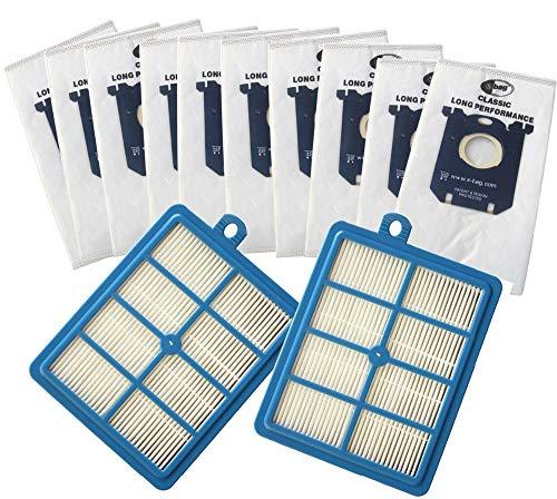 SDFIOSDOI Piezas de aspiradora Bolsas de Polvo de la aspiradora 10x S-Bag y 2X H12 HEPA Filter Fit para Philips Fit para Electrolux Cleaner
