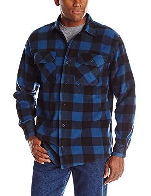 Wrangler mens Long Sleeve Plaid Fleece Jacket Button Down Shirt, Blue Buffalo Plaid, X-Large US