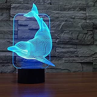 Saiam 3D Lamp Desk Table Light Cute Lovely Dolphin Shapes 7 Colors Amazing Optical Illusion Led Lamp Art Sculpture Lights Produces Unique Lighting Effects And 3D Visualization For Home Décor
