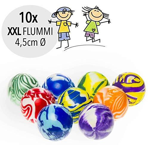 L+H Flummis XXL | 10x Stück | 45 mm Durchmesser | extra groß | Dopsball Gummiball Hüpfball Springball | ideal als Mitgebsel o. Mitbringsel für Kindergeburtstag für Kinder, Jungen u. Mädchen