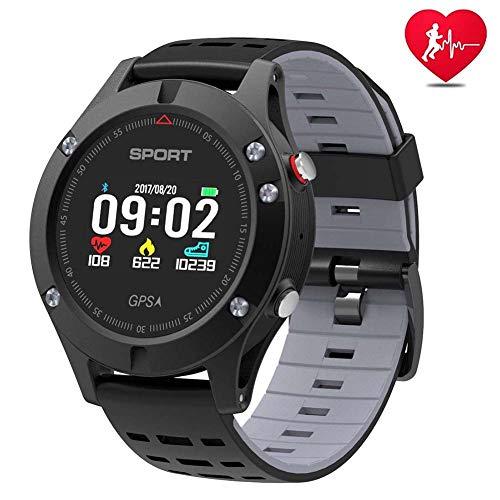 Smart Watch, Sportuhr mit Höhenmesser/Barometer/Thermometer und eingebautem GPS, IP 67 Waterproof Pulsmesser für iOS und Android,Gray