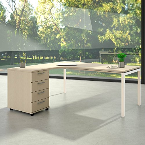 Winkelschreibtisch mit Standcontainer NOVA XL 180x163cm Ahorn Eck-Schreibtisch, Gestellfarbe:Weiß