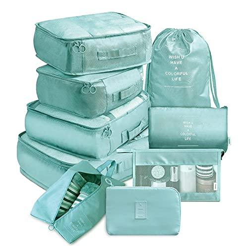xiaomin Cubo per valigie, 9 pezzi, organizer per bagagli con borsa per scarpe e beauty case, leggero, per riporre le scarpe da viaggio, aggiunge 30 spazi aggiuntivi