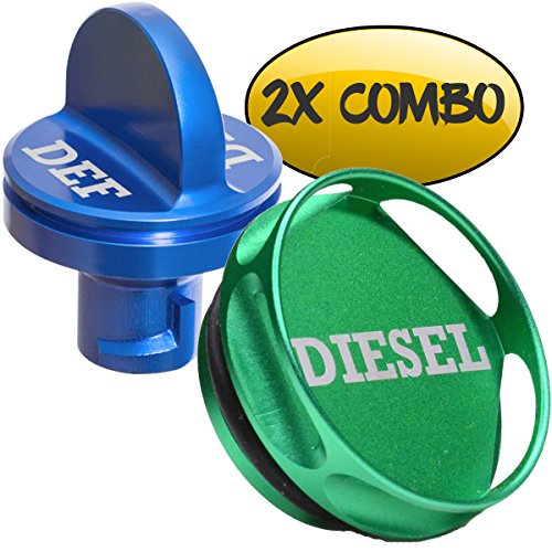 Ronin Factory Combo Pack Magnetic Diesel Fuel Cap + DEF Cap Accessory for Dodge RAM Truck 1500 2500 3500 (2013-2018) with 6.7 Cummins EcoDiesel (Easy Grip)