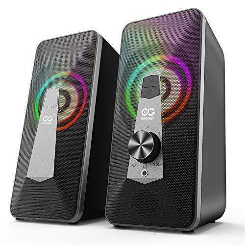ELEGIANT 10W Altavoz PC Sobremesa, Bluetooth Gaming USB de Ordenador Sobremesa, Barra de Sonido RGB Mejorado con Botón Giratorio, para Ordenador Portátil, Móvil, Tableta, Fiesta, Regalo