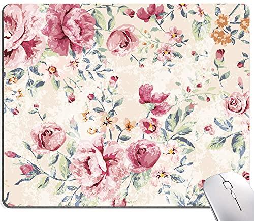 Alfombrilla de ratón vintage con diseño de flores florales, alfombrilla de ratón abstracta con estampado floral, almohadillas de ratón de goma antideslizantes para ordenadores, portátiles, oficina
