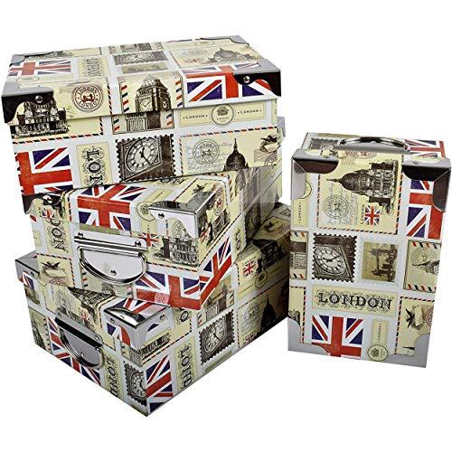 2J Londra,London Set di 4 scatole di Cartone con Coperchio Stampato con Angoli in Metallo e Maniglie. Dimensioni: XL 29x20x11 cm - L 27x18x10,5 cm - M 25x16,5x10 cm - S 23x15x9 cm
