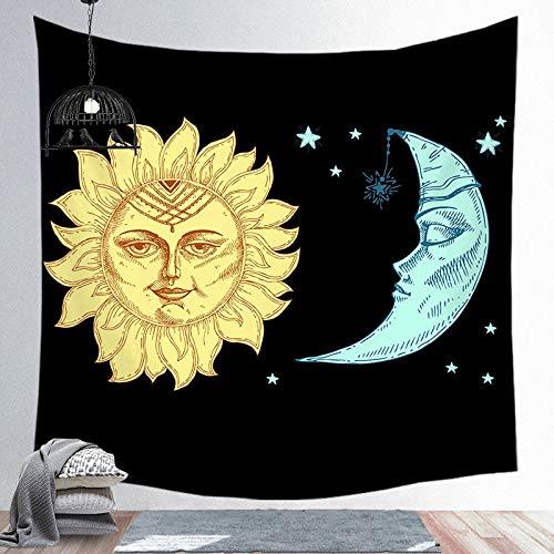 PPOU Mandala Tapiz Luna Colgante de Pared Estilo Boho Colgante de Pared Manta psicodélico Hippie Noche Luna Tela de Fondo A5 130x150cm