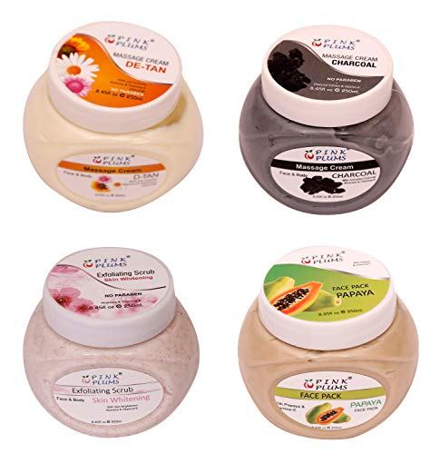 Pink Plums Papaya Face Pack , Skin-Whitening Scrub, Charcoal Massage Cream, D-Tan Massage Cream with Vitamin E Combo (Pack of 4) Each 250 ml