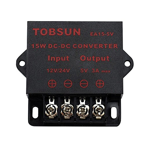 Regulador 12V SUPERNIGHT Power Supply Transformer DC DC Step Down Voltage Reducer 12V~24V to 5V 3A 15W DC Buck Converter Adjustable for LED displays, Automotive, Electricity ect.