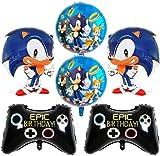 Sonic Foil Globos, 6Pcs Globos de Sonic Decoracion Cumpleaños Sonic Foil Globos Juego de Decoración, Hedgehog Feliz Cumpleaños del Pancarta de Sonic, decoración de baby shower