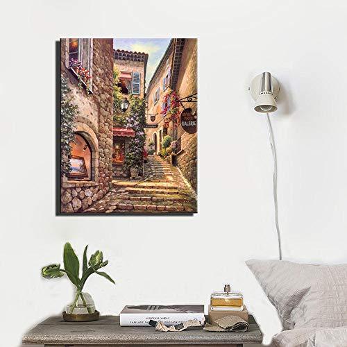 VVSUN Paisaje de la Ciudad de Venecia Retro Pinturas en Lienzo Impresión de Carteles de paisajes e Impresiones Imagen para la decoración del hogar de la Sala de Estar; 50x70cm (sin Marco)