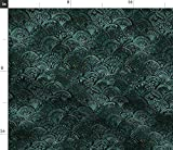 Spoonflower Fabric - Mermaid Teal Black Sparkle Vintage Gold Art Deco Scales Scallop Printed on Upholstery Velvet Fabric by The Yard - Upholstery Home Decor Bottomweight Apparel