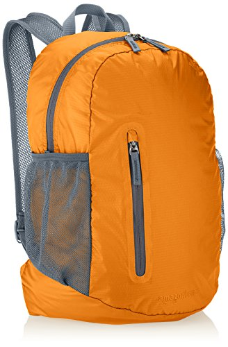 AmazonBasics Lightweight Packable Hiking Travel Day Pack Backpack - 17.5 x 17.5 x 11.5 Inches, 25 Liter, Orange