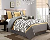 Grand Linen 5 Piece Modern Oversize Yellow/Black/White/Grey Floral Comforter Set Twin Size Bedding
