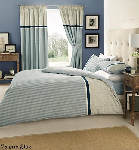 BLUE STRIPED VALERIA DOUBLE-DUVET QUILT COVER + FITTED SHEET + 2 PILLOW CASES BEDDING SET