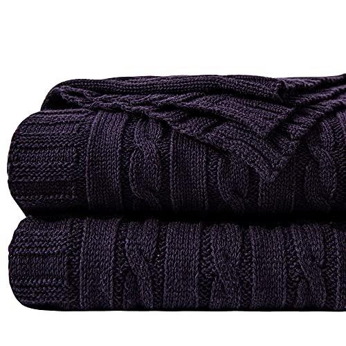 NTBAY Decke Aus Baumwolle Mit Zopfmuster Super Weich Warm Mehrfarbig, 130 x 170 cm, Aubergine Lila