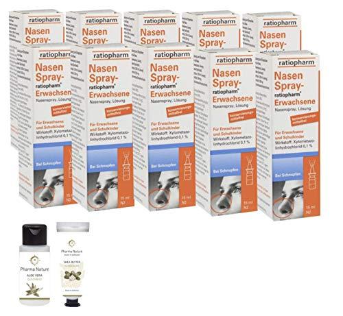 Nasenspray Ratiopharm 10 x 15 ml Sparpackung inkl. Handcreme o. Duschbad der Marke Pharma Nature