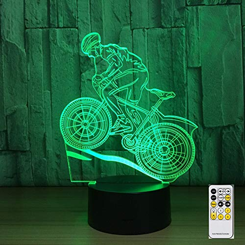 LPHMMD Nachtlampje Afstandsbediening Mountainbike 3D Nachtlampje 7 Kleuren Lamp USB LED Lamp Slee Lamp als Home Decoratie Nieuwjaar Gift
