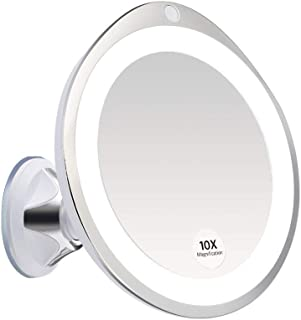10X Magnifying Lighted Vanity Makeup Mirror with White Led Lights, liaboe Portable Bathroom Mirror Tabletop Illuminated Cosmetic Mirrors with Strong Suction Cup 360 Rotation, Dimmable Light