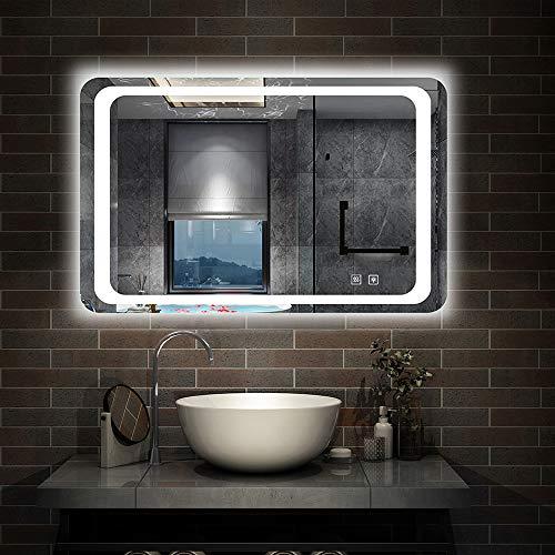 Xinyang Badezimmerspiegel mit LED-Leuchten, Anti-Beschlag-Pad, Dual-Touch-Sensor-Schalter, Wandmontage, IP44, 800x600mm