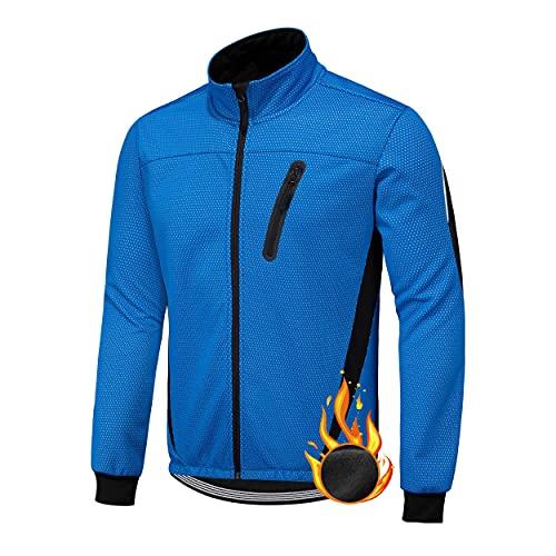 XM Herren Winter Fahrradjacke Thermo-Vlies Softshell Winterjacke Wasserdicht Atmungsaktiv Reflektierendfür Radfahren Sport Laufen Wandern(Blau, XL)